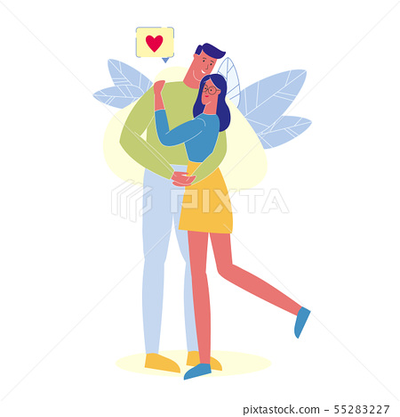 People in Love Hugging Flat Vector Illustration 55283227