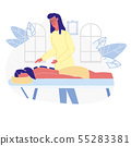 Woman Relaxing in SPA Flat Vector Illustration 55283381
