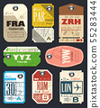 Vector airline tags. Checklist for Travelers. 55283444