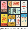 Vector airline tags. Checklist for Travelers. 55283445