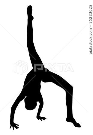 Gymnast girl making handstand 55283628