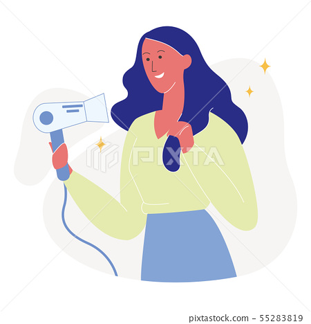 Attractive Woman Drying Hair Flat Illustration 55283819