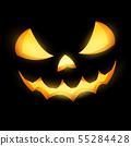 Grinning Jack O Lantern on black background. EPS 10 55284428