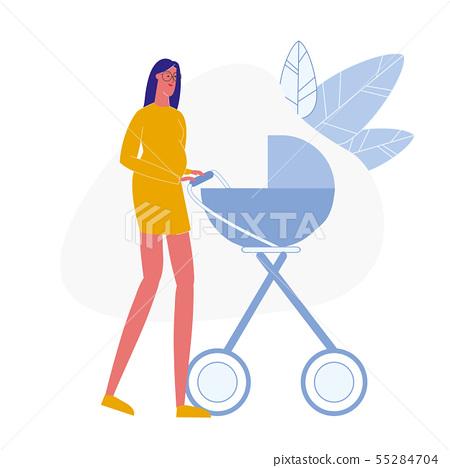 Pregnant Lady with Pram Flat Vector Illustration 55284704