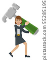Business Woman Holding Hammer Mascot Concept 55285195