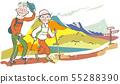 등산을 즐기는 수석 커플 단풍 가을 일러스트 55288390