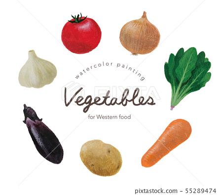 西餐的蔬菜水彩 55289474