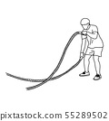 man with battle rope doing exercise vector 55289502