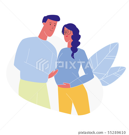 Happy Future Mom and Dad Flat Vector Illustration 55289610