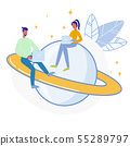 Astronomers Coworking Flat Vector Illustration 55289797