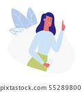 Young Woman Having Idea Flat vector Illustration 55289800