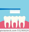 Flat design illustration of three teeth, 55290026