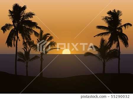 Realistic illustration of sunset over sea or ocean 55290032