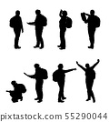 Set of realistic illustration of a silhouette of a 55290044