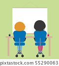 Two schoolchildren sitting on chair in school 55290063