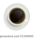Realistic illustration of coffee cup with saucer. 55290065