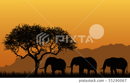 Illustration of silhouettes of mountain landscape 55290067