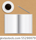 Realistic open school notebook with lined paper, 55290079