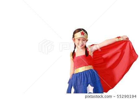 Little child girl Superhero on white background. 55290194