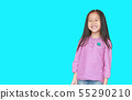 Portrait of happy little Asian child girl isolated 55290210