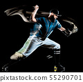baseball player man isolated black background light painting 55290701