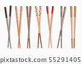 Food chopsticks. Asian bamboo sushi sticks for Chinese and Japanese food, traditional cutlery 55291405