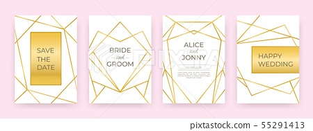 Luxury Wedding Line Posters Golden Fashion Stock