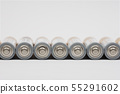 Row lying AA battery on white background 55291602
