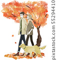 A couple walking on a dog-couple-autumn-autumn leaves 55294410