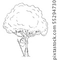 Vector Cartoon of Man of Fearful or Worried or Curious Native or Prehistoric Man Hiding Behind Tree 55294730
