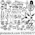 日本紀念品旅遊手寫的插圖 55295677