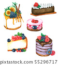 Set of watercolor Cakes Hand drawn painted 55296717