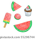 Watermelon watercolor collection Hand drawn  55296744