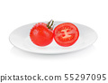 Tomato isolated on white plate 55297095
