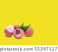 lychees isolated on yellow background 55297127