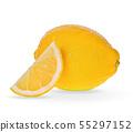 fresh lemons isolated on white background. 55297152