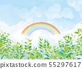 푸른 하늘과 녹색 식물과 무지개 55297617