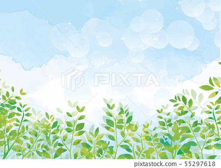 푸른 하늘과 녹색 식물 55297618