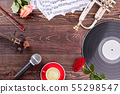 Musical instruments, roses and copy space. 55298547