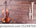 Violin, trumpet and copy space. 55298769