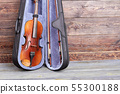 Violin in case and copy space. 55300188