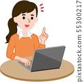 컴퓨터 여성 55300217