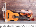 Musical instruments of vintage style. 55300243
