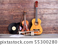 Retro musical instruments on wooden background. 55300280