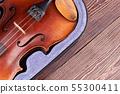 Old violin on wooden background. 55300411