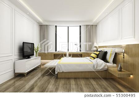 vintage minimal bedroom suite in hotel with tv 55300495