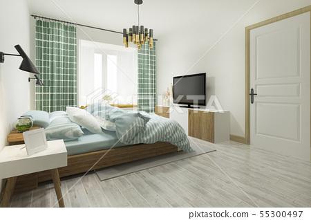 green vintage minimal bedroom suite in hotel  55300497