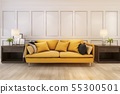scandinavian style living room with yellow sofa  55300501