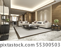 modern dining room and living room with decor 55300503