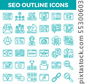 SEO Search engine optimization outline icons. 55300603